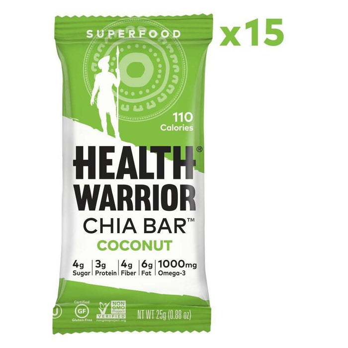 Chia Bars, Coconut, Gluten Free, Vegan, 25g bars, 15 Count Food & Drink Health Warrior