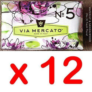 Via Mercato Italian Soap Bar (200g), No. 5 - Waterlily and Sandalwood CASE OF 12