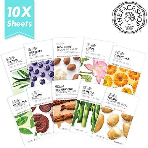 The Face Shop Facial Mask Sheets (10 Treatments), Real Nature [NEW 2017 Version] Full Face Masks Peel Off Disposable Sheet - Set B (Blueberry, Shea Butter, Green Tea, Red Ginger, Bamboo & More)