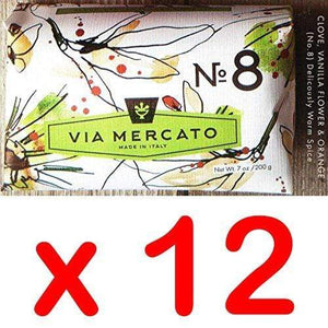 Via Mercato Italian Soap Bar (200g), No. 8 - Clove, Vanilla Flower & Orange CASE OF 12