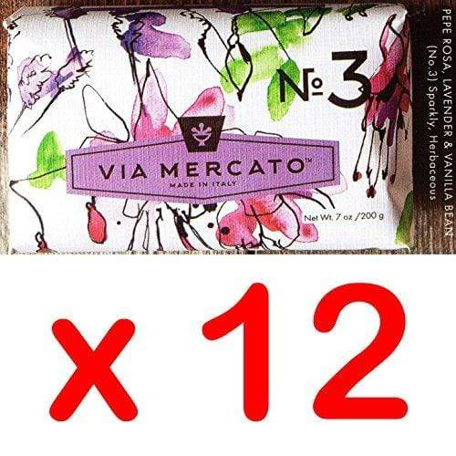 Via Mercato Italian Soap Bar (200g), No. 3 - Pepe Rosa, Lavender and Vanilla Bean CASE OF 12