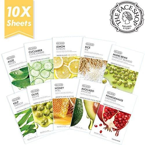 The Face Shop Facial Mask Sheets (10 Treatments), Real Nature [NEW 2017 Version] Full Face Masks Peel Off Disposable Sheet - Set A (Aloe, Cucumber, Lemon, Rice, Honey, Avocado, Pomegranate & More)