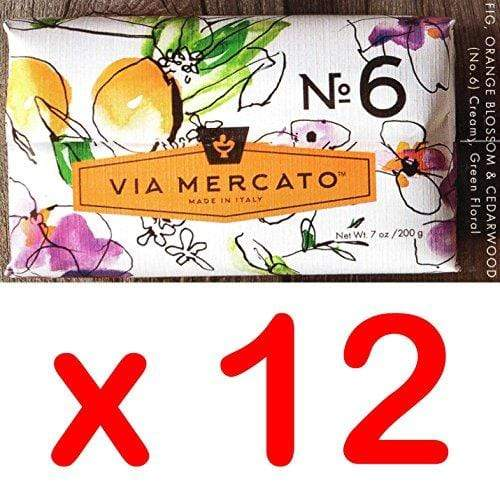 Via Mercato Italian Soap Bar (200g), No. 6 - Fig, Orange Blossom and Cedar wood CASE OF 12