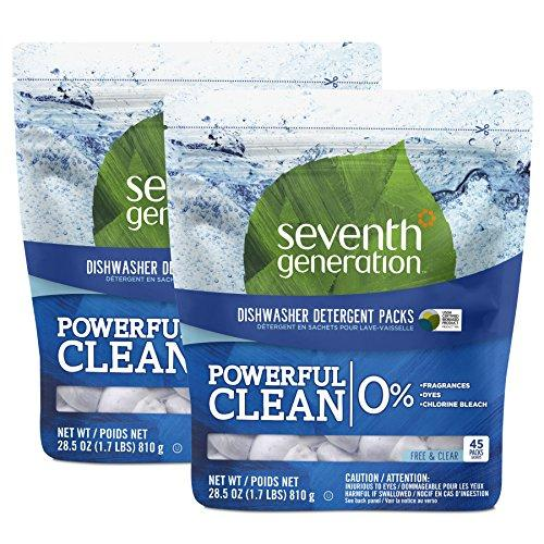 Seventh Generation Dishwasher Detergent Packs, Free & Clear, 90 count