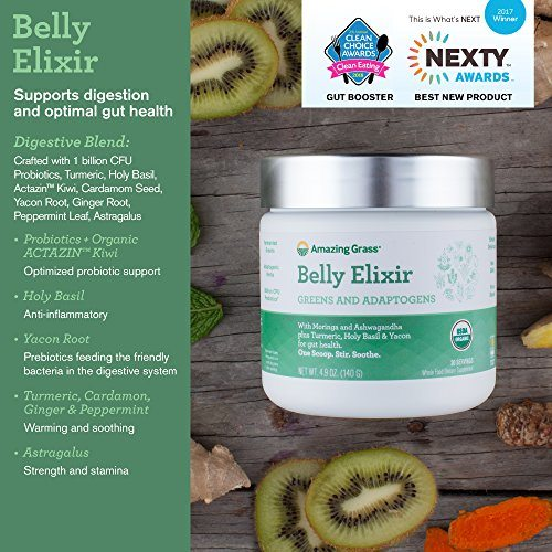 Amazing Grass Belly Elixir, Adaptogens, Greens, Organic Powder, Box of 10 Individual Servings, 2.5 Oz, Ashwagandha Root, Moringa Leaf, Turmeric, Holy Basil, Tacon, Fermented Greens