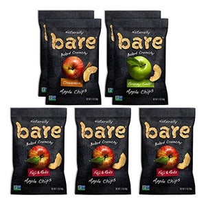 Natural Apple Chips, Single Serve Variety Pack, Gluten Free + Baked (7 Count) Food & Drink Bare Fruit