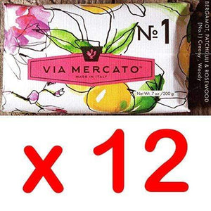 Via Mercato Italian Soap Bar (200g), No. 1 - Bergamot, Patchouli and Rosewood CASE OF 12
