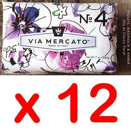 Via Mercato Italian Soap Bar (200g), No. 4 - Violets, Magnolia and Amber CASE OF 12