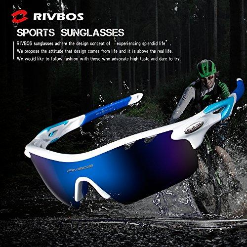 2aadd07097 ... RIVBOS 801 POLARIZED Sports Sunglasses with 5 Interchangeable Lenses  (White Blue) ...