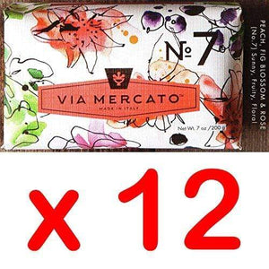 Via Mercato Italian Soap Bar (200g), No. 7 - Peach, Fig Blossom and Rose CASE OF 12