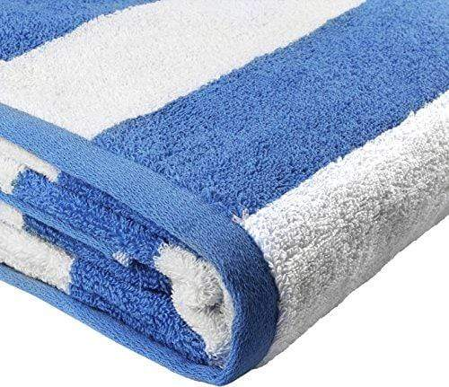 Utopia Towels Cabana Stripe Beach Towel - Large Pool Towel - Extra Large Bath Sheet (35 x 70 Inches), Blue - Maximum Softness and Absorbency