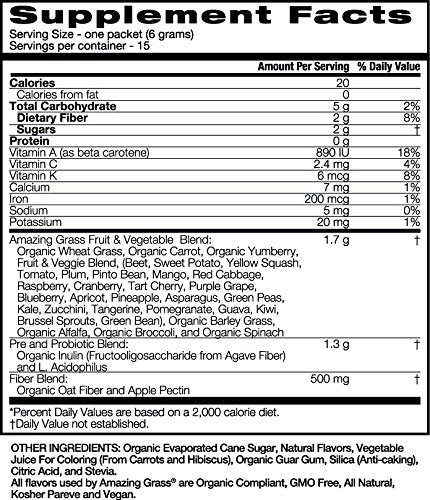 Amazing Grass, Kidz Superfood, Berry Blast, Individual Servings, 15 Count, .21 Oz, Greens, Fruits, Veggies, Probiotics, Organic Wheat Grass, Organic Carrot, Spinach, Broccoli, Vitamin A