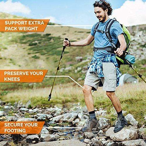 TrailBuddy Trekking Poles - 2-pc Pack Adjustable Hiking or Walking Sticks - Strong, Lightweight Aluminum 7075 - Quick Adjust Flip-Lock - Cork Grip, Padded Strap - Free Bag, Accessories (Spring Green)