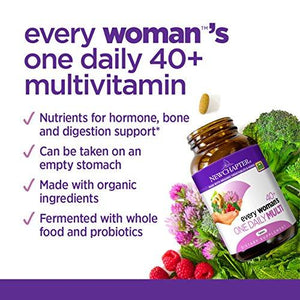 New Chapter Every Woman's One Daily 40+, Women's Multivitamin Fermented with Probiotics + Vitamin D3 + B Vitamins + Organic Non-GMO Ingredients - 72 ct