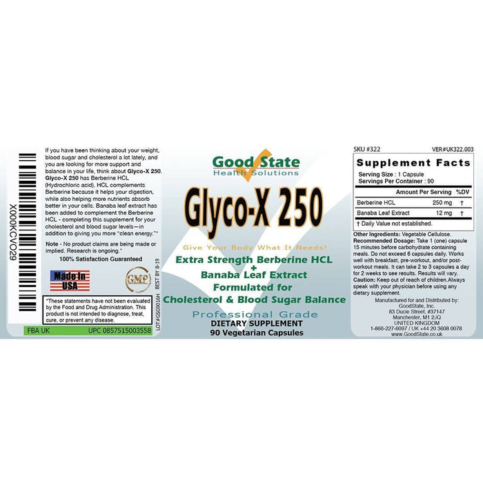 Good State Glyco-X 250 with Berberine HCL (250 mg per capsule - 90 veggie capsules total)