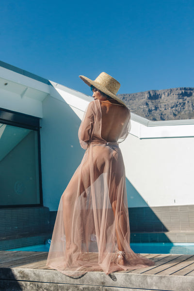 Festival kimono, cover up, nude, mesh, bodysuit, bohemian, wrap dress, cape town, festival look, local, quality, designer, afrikaburn, corona sunsets, vortex, party, beach