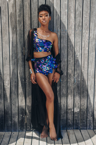 Festival top, one shoulder bra, purple, big sequin, iridescent, mermaid, festival set, festival look, Cape Town, South Africa, Afrikaburn, corona sunsets, vortex, party, desert, disco, designer, local, women's wear, sparkle, exclusive, quality