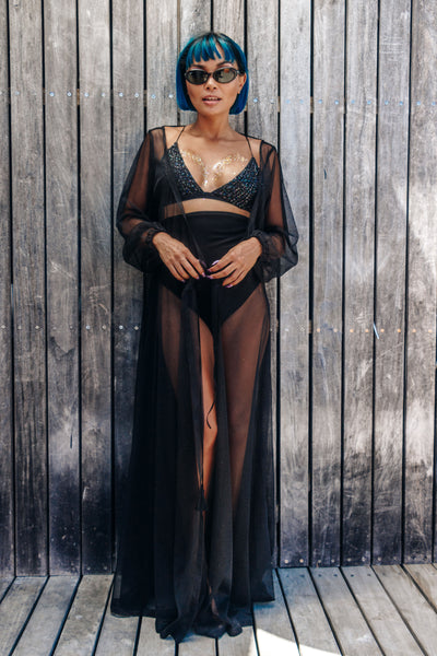 Black, glitter, sparkle, kimono, festival outfit, festival look, cape town, tassels, wrap dress, mesh, afrikaburn fashion, sleeves, swimsuit coverup, quality, local design, corona sunsets, vortex