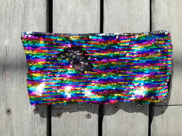 Festival rainbow sequin bandeau, stretch, reversible sequin, silver, colourful, festival set, festival fashion, festival outfit, unicorn, rainbow, cape town, local, south africa, afrikaburn, corona sunsets, vortex, trance party, gay pride, festival fashion