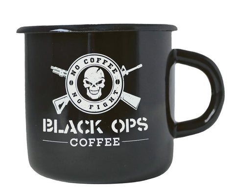 Black Ops Coffee EMAILLE BECHER