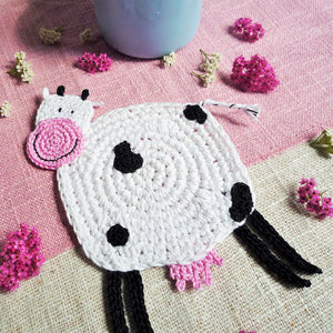 Candy the Crochet Cow Coaster Pattern - This Weekend for Free