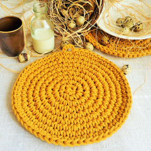 mustard yellow round placemat