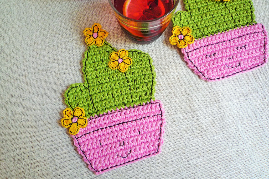 Happy Cactus Coaster Pattern