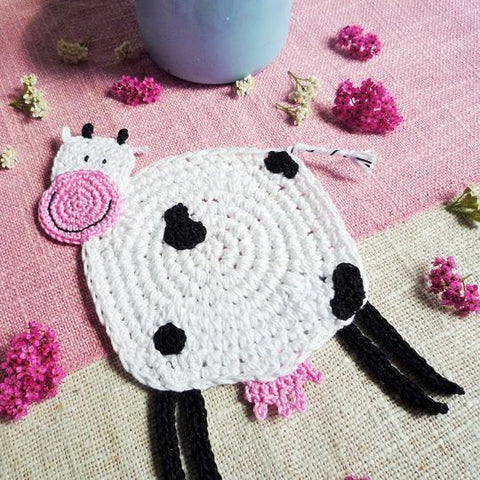 Crochet Cow Coaster by Monika Crochet