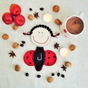 personalized ladybug coaster for kids