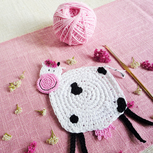 Crochet Cow Coaster Pattern by MonikaCrochet