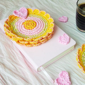 Summer Flower Coaster Crochet Set of 2 in Gold Yellow Color