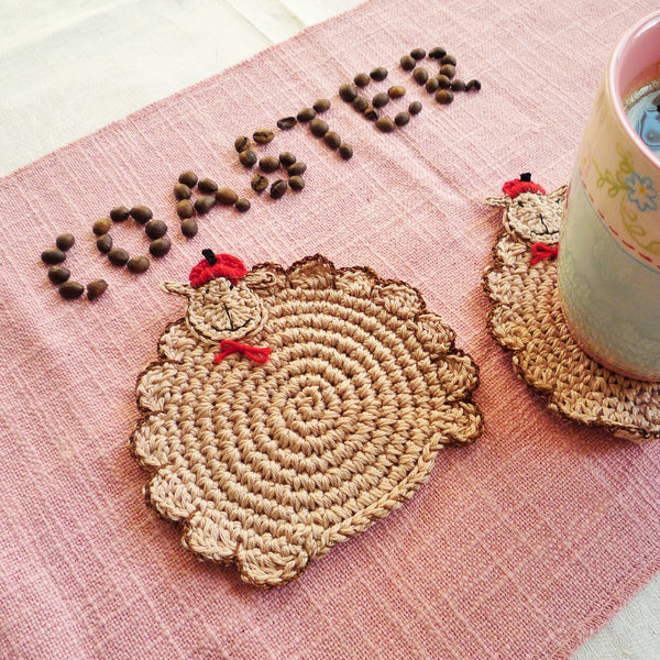 Sheep Crochet Coasters - Farmhouse Table Decor - Set of 2