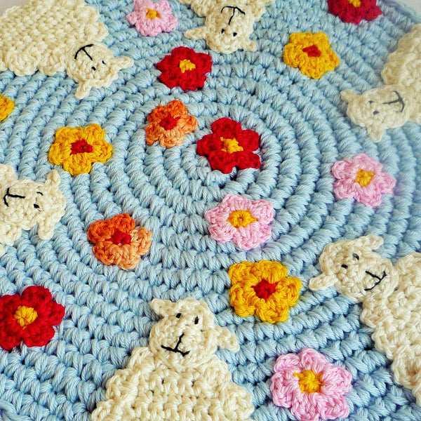 cotton hot pad with sheep and flowers by monikacrochet