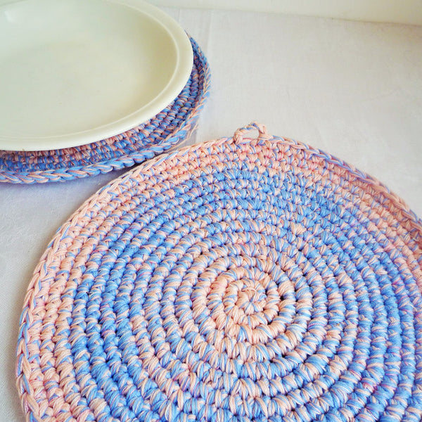 aqua blue crochet place mat