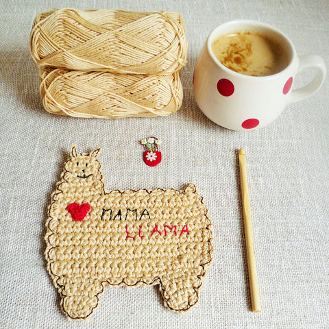 Mama Llama Crochet Coaster by MonikaCrochet