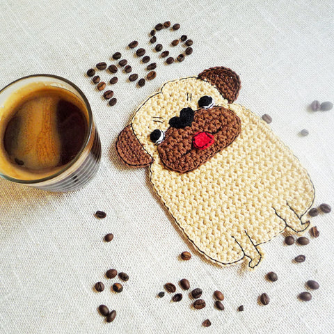 crochet pug dog coaster