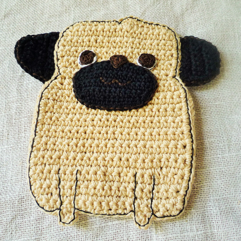 Crochet Pug Dog Potholder - Pug Lover Gift - Double Thick Potholder ...