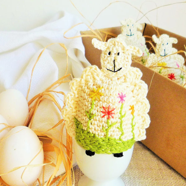 crochet sheep cozy