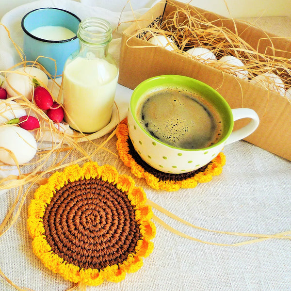 sunflower crochet coasters