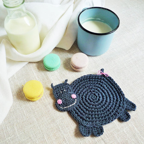 crochet hippo kids coaster