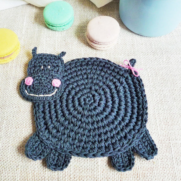 Crochet Hippo Coaster Pattern for Beginners