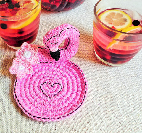 Pink Flamingo Crochet Coaster - Palm Springs Decor - MonikaCrochet