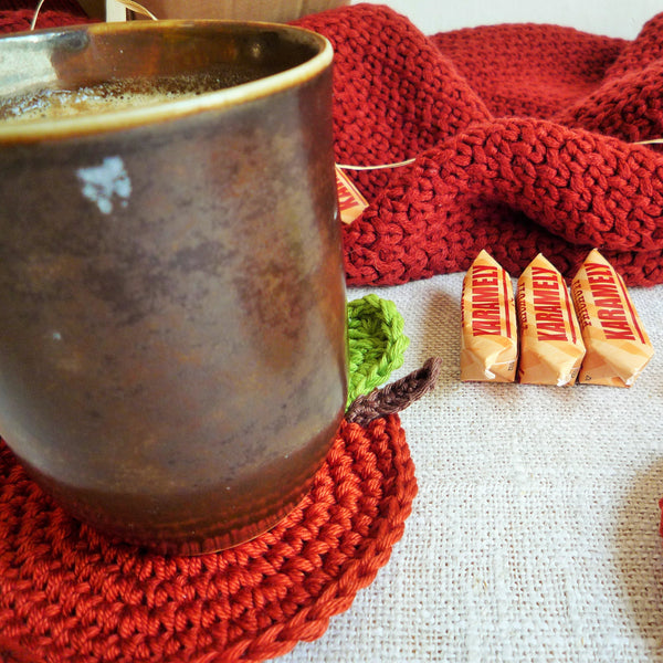 Cinnamon Brown Apple Crochet Coasters