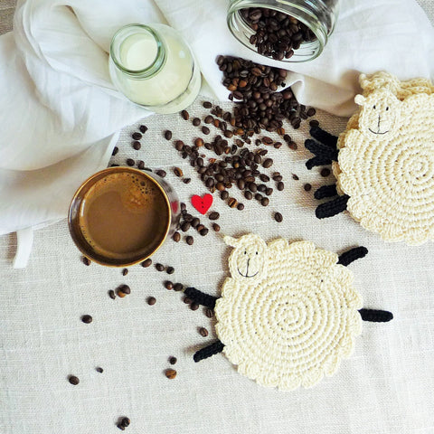 Set of Two Crochet Sheep Coasters