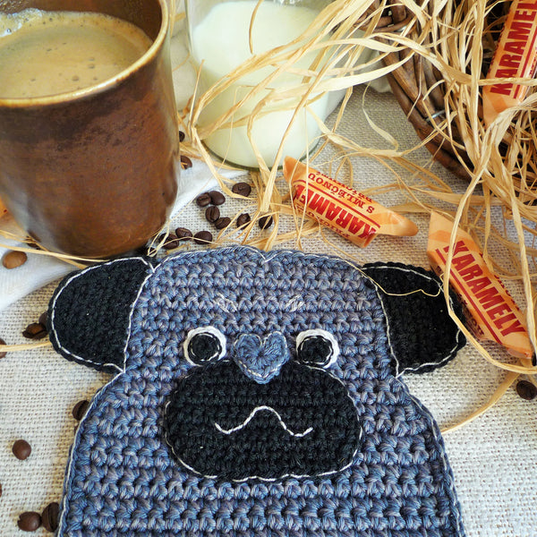 Dog Crochet Coaster - Dog Decor for Table - Pug Lover Gift