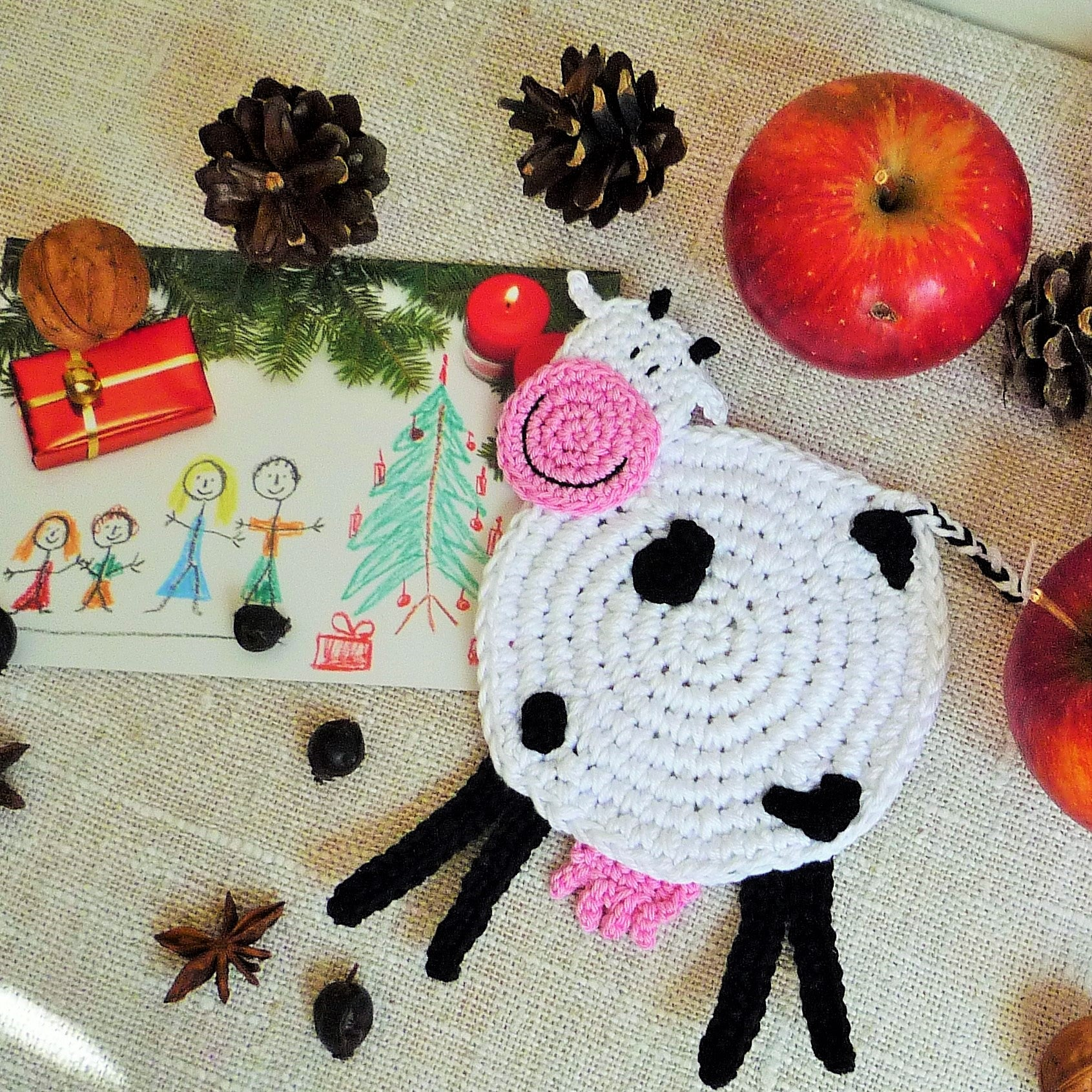 crochet cow coaster monikacrochet