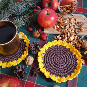 crochet sunflower coasters