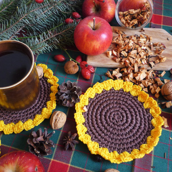crochet sunflower coaster pattern