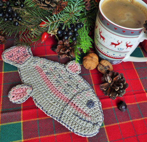 Crochet Fish Coaster - Rainbow Trout Fish Coaster - Gift for Fisherman