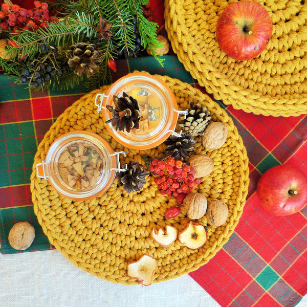 mustard yellow rustic round placemat